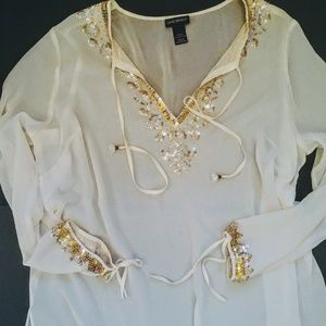 Lane Bryant Ivory sheer long sleeve blouse, sequin
